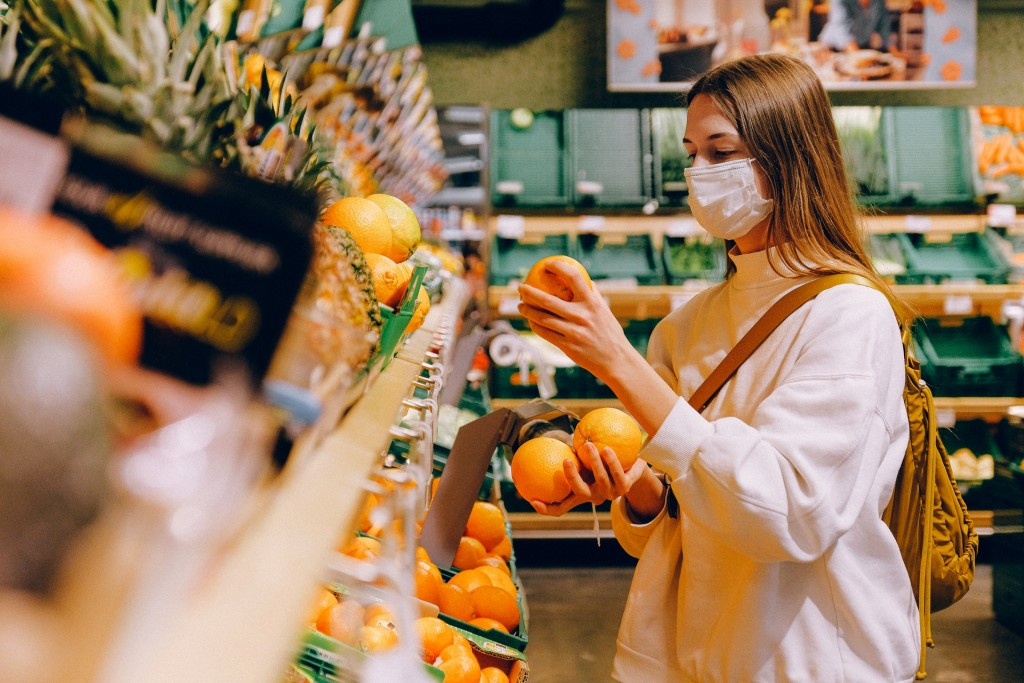 Woman Wearing Mask In Supermarket 3962294