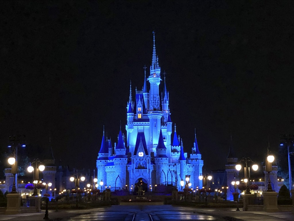 Cinderella Castle Shines Blue At Magic Kingdom Park In Honor Of