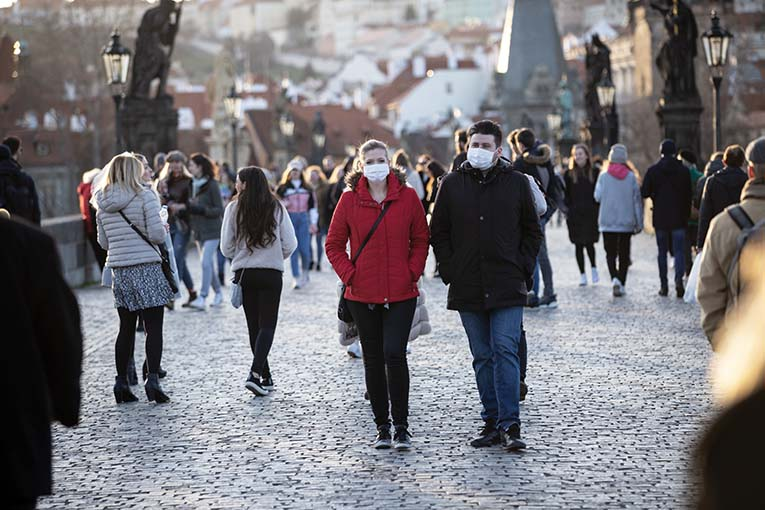 Couple Walking With The Veils The Historical Centrum In Prague,