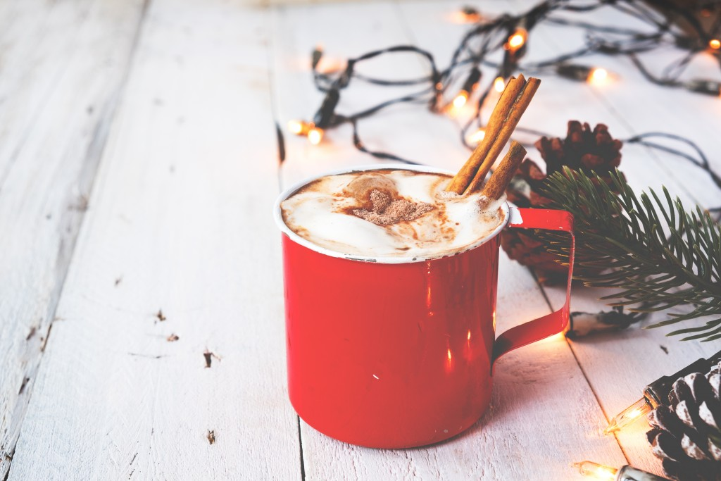 Cup Of Hot Chocolate On Wood Table In Christmas