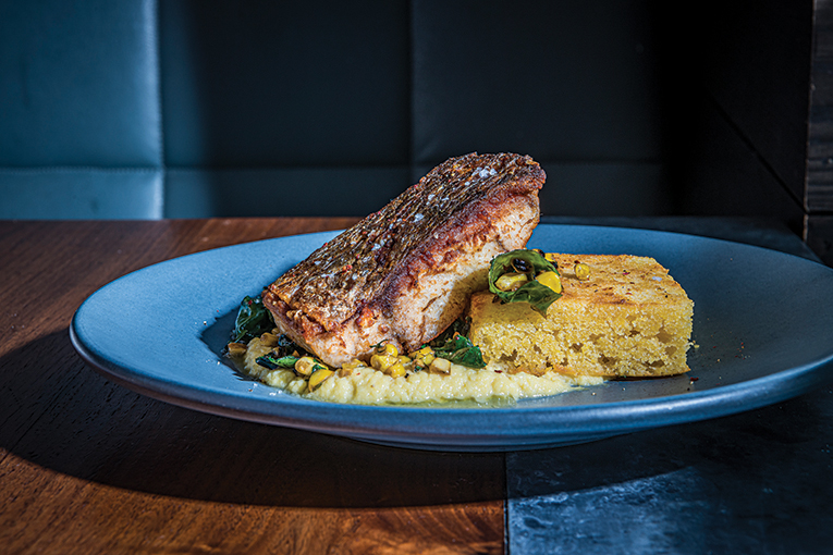 Redfish With Cornbread And A Corn Purée, Photo By Roberto Gonzalez